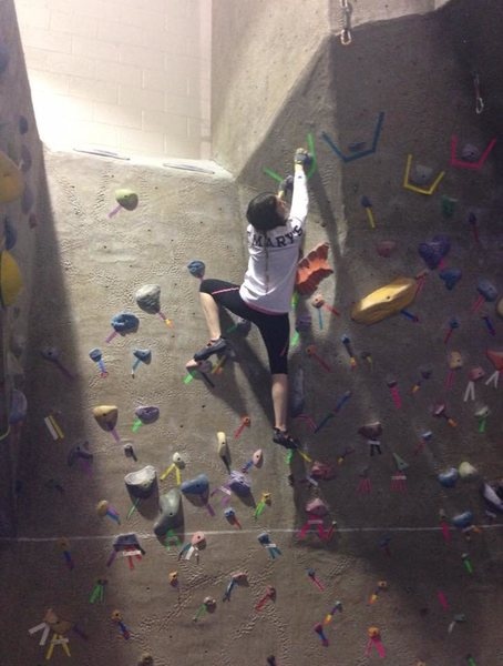 Hi, this is me indoor climbing and getting really excited over successfully completing my first ever V2.