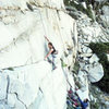 """Urmas Franosch TRing """"Girls On Fire"""" (5.11d) belayed by the first ascentionist, Dave Caunt."""