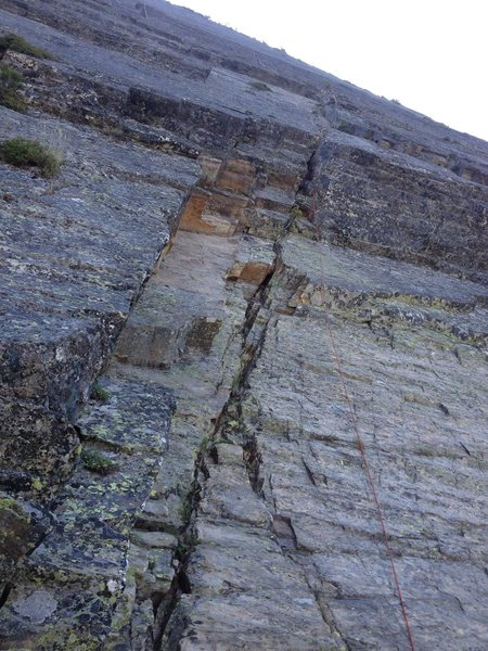 Rock Climbing Photo: Looking up, from the first belay, through the crux...