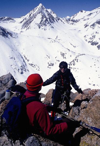 Noreen Flynn on the Northwest Ridge.