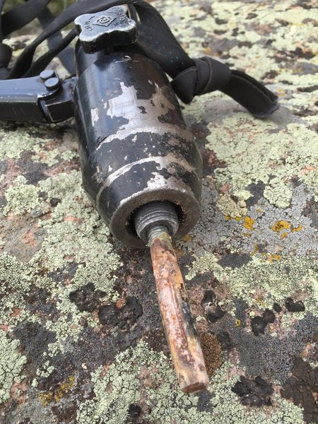Steve was able to remove this lone, rusty bolt with the Greenlee tool.  We then reused the hole for our first bolt placement.