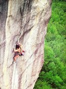 Rock Climbing Photo: Jerry Moffatt flashing Super Injim (5.12b), Japan....