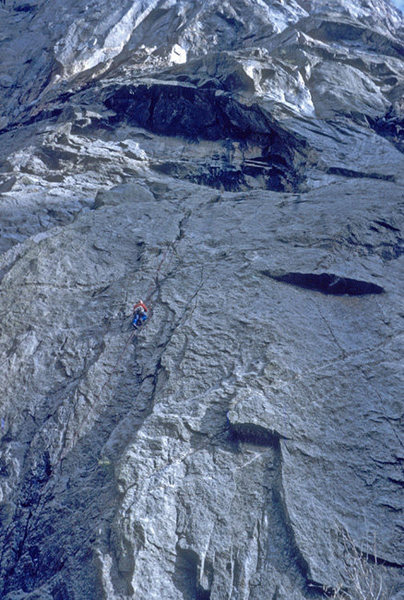 Brian Robertson jumaring on an early attempt of Chasm View, Black Canyon.<br> Photo:\; Steve Nelson