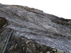 Rock Climbing Photo: Dow leading Pitch 2. He is nearing the 5.9 bulge i...