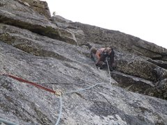 Rock Climbing Photo: Dow leading Pitch 2. He is at the 5.9 bulge in the...
