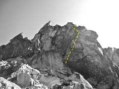 Rock Climbing Photo: Summit block with our alternate 5.8 direct finish ...