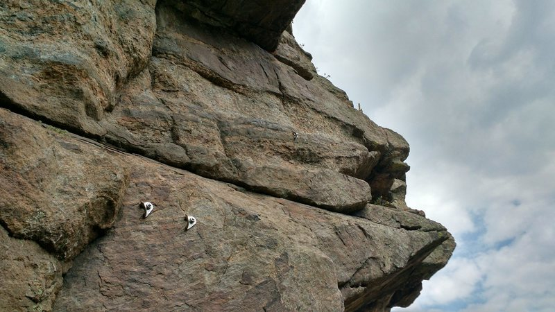 Rock Climbing Photo: Looking up at the start of the last pitch from the...