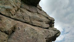 Looking up at the start of the last pitch from the final large ledge.