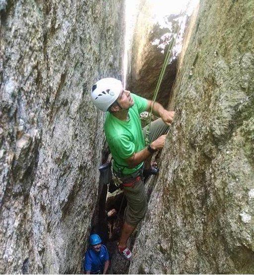 Eric Austin climbing Acme.