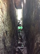 Rock Climbing Photo: Belay position for Acme, showing the tight space i...