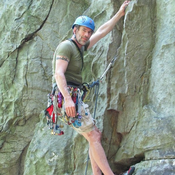 Me on my first trad lead at Rocks State Park, Peanut Butter, 5.5 <br> http://mountainproject.com/v/peanut-butter/106728717
