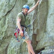 Rock Climbing Photo: Me on my first trad lead at Rocks State Park, Pean...