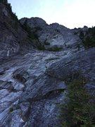 Rock Climbing Photo: Looking up from the start of Infinite Bliss.  Matt...