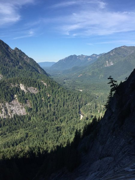 Great views of the Middle Fork Valley from the top of pitch 7 or so.