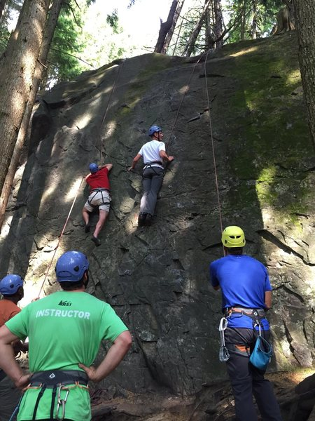 Left climber is on Chica Rapida and right climber is on 99 Grit