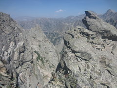 Rock Climbing Photo: The top of the shaded buttress facing back. Lone E...