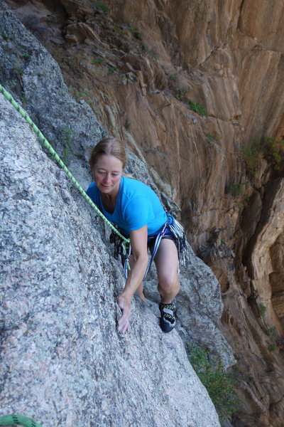 Rock Climbing Photo: Dede topping out on the second pitch.
