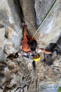 Rock Climbing Photo: Double fisting through the offwidth roof.  Photo b...