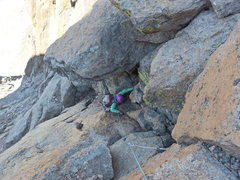 Nancy Bell on the crux pitch of Northwest Gully, Long's Peak.