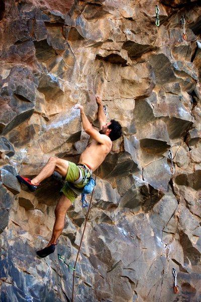 Rock Climbing Photo: Aaron groping the sloper rail. August 2015.