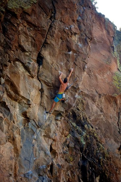 """Rock Climbing Photo: Stretching it out on the """"new and improved&qu..."""
