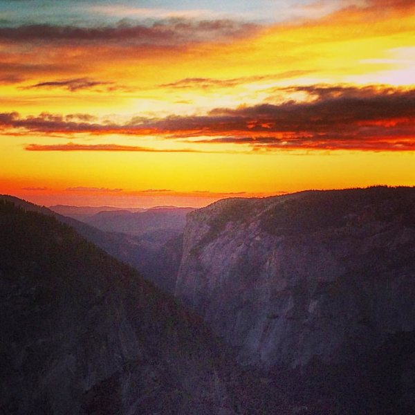 8/29/15 - Overlooking El Cap from the half-dome summit as the sun set and the full moon rose for our decent.