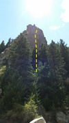 Rock Climbing Photo: Cob Rock from parking area w/ several climbers on ...