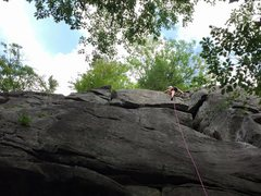 Rock Climbing Photo: Sydney just above the short chimney, about to top ...