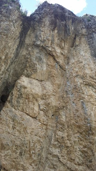 Rock Climbing Photo: Dust is the middle bolt line (continuation of Dirt...
