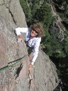 Rock Climbing Photo: Linda Engle on the files jugs of Waves.