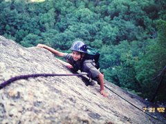 Rock Climbing Photo: 8 year old Matt Halupowski finishing Upper Refuse
