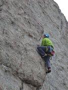 Rock Climbing Photo: John Schmidt pulling through the crux on 13b