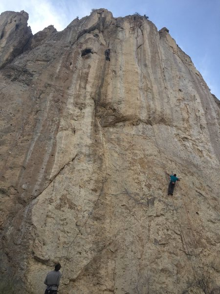 Left climber is on No Coutry For Old Men, extension to Fifty One.  Climber on the right is on the extension to Yellow Cake