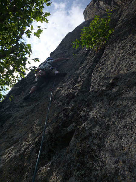 Keith leading Pitch 3, Crack of Dawn