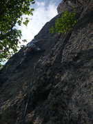 Rock Climbing Photo: Keith leading Pitch 3, Crack of Dawn