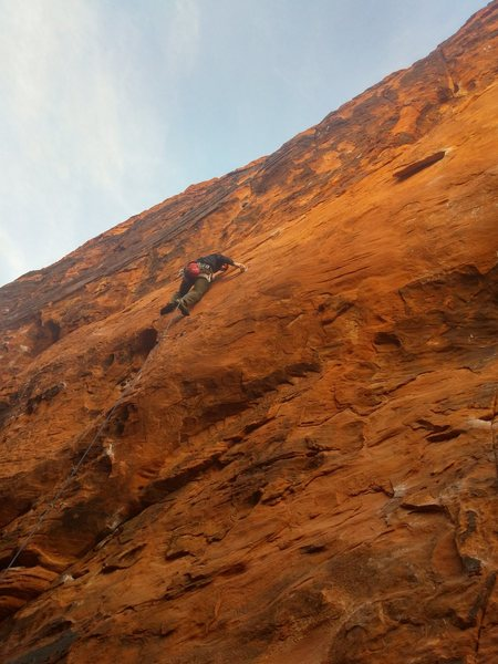 Climbing Michael Angelo (5.11a?), Black Corridor, Red Rock, Las Vegas. 2014. Dude, this route is seriously amazing!