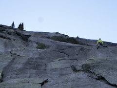 Rock Climbing Photo: First pitch slab fun! (There is a rappel rope dang...