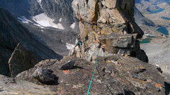 Rock Climbing Photo: Exposed traverse past a gendarme on our 2nd pitch.