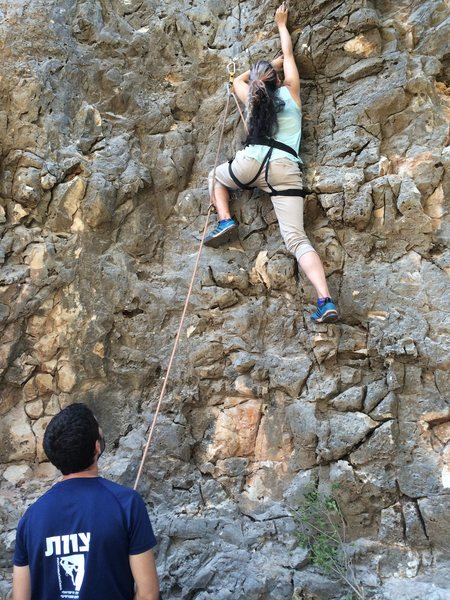 Leading a climb in Israel
