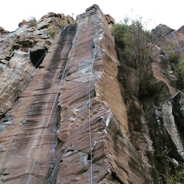 The bolt line. Bolts 1,2 (1 is out of frame)  climb the central arete, 3-5 span the left side of the column, 6-8 span the right side. Boulder up the central face to the chains.