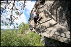 Rock Climbing Photo: Sydney owning the exposure as she follows the rout...