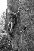 Rock Climbing Photo: Torie on the first bolted ascent of the route. If ...
