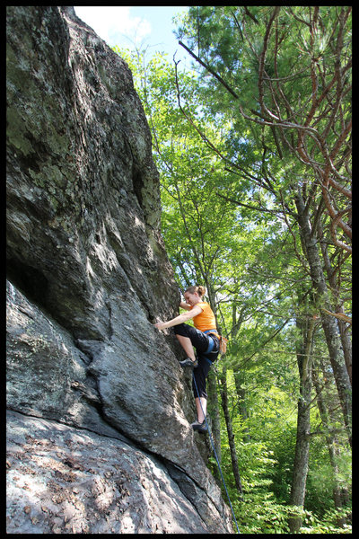Rock Climbing Photo: Torie about to surmount the final bulge before the...