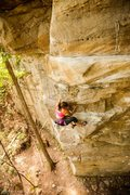 Rock Climbing Photo: First cruxy part of the route on the arete.  Photo...