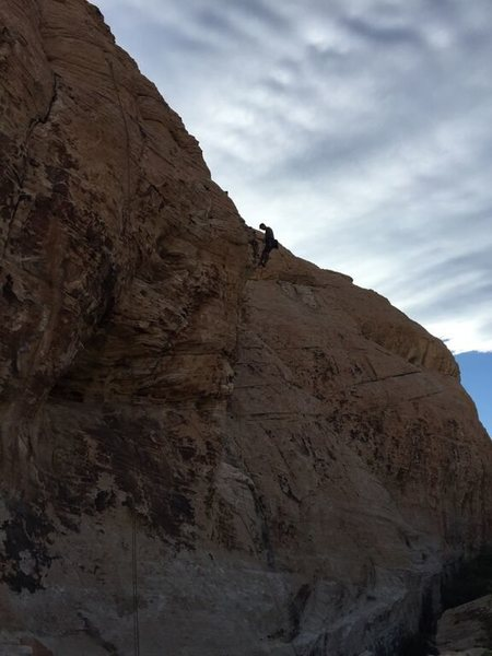 At the top of Mic's Master (Wake up wall in Sandstone Quarry)