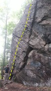 Rock Climbing Photo: The route is to the left of the crack