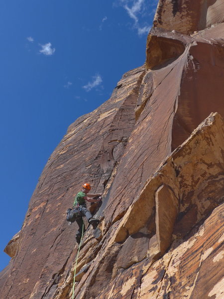 Rock Climbing Photo: Andrei Zippy on the 5.9 mnoney pitch of Black Orph...