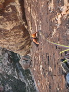 Rock Climbing Photo: Jack Brennan nearing the top of the fourth pitch o...