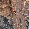 Jack Brennan nearing the top of the fourth pitch of Refried Brains.
