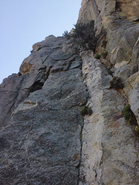Rock Climbing Photo: Route follows seam to right of white band of Quart...